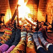 winter fire and socks